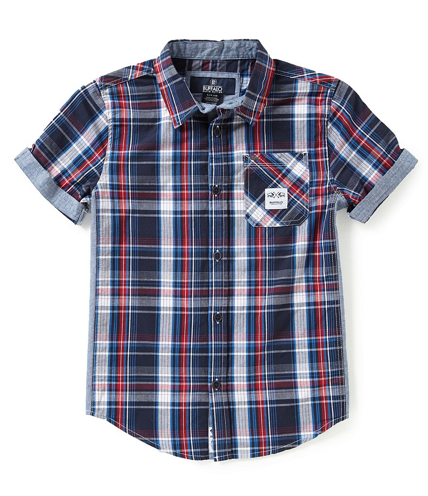 Buffalo David Bitton Big Boys 8-20 Sabeck Plaid Poplin/Chambray Shirt