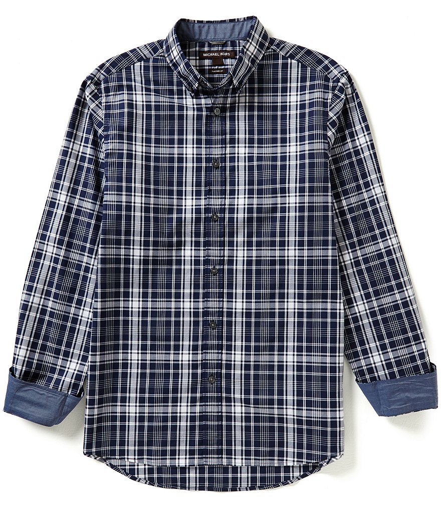 Michael Kors Lester Tailored-Fit Long-Sleeve Plaid Woven Shirt