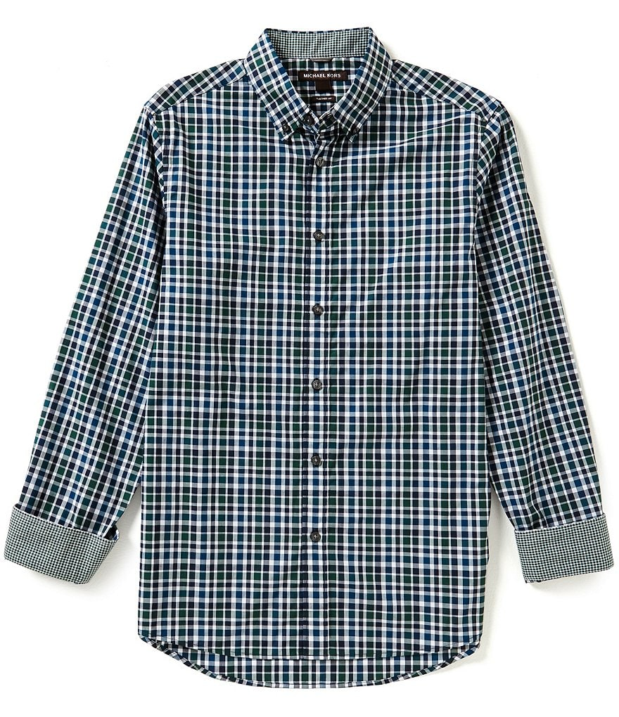 Michael Kors Romeo Tailored-Fit Long-Sleeve Plaid Woven Shirt