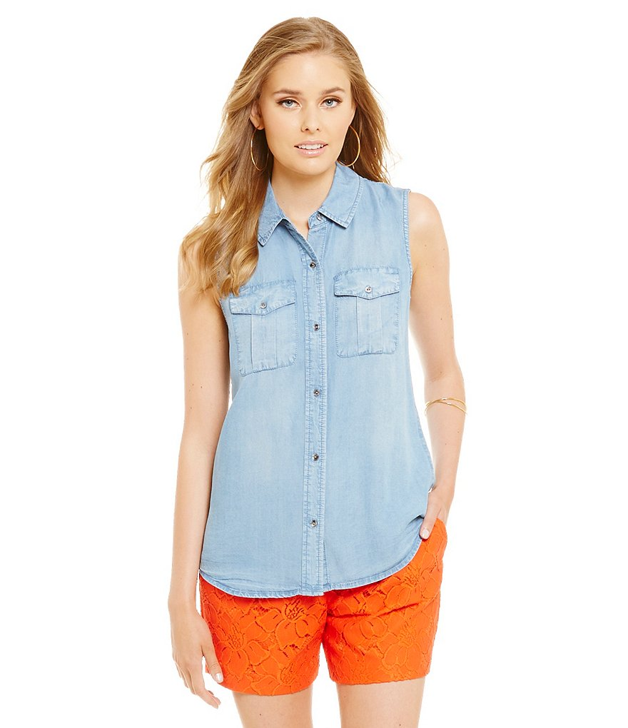 Cremieux Kay Chambray Sleeveless Collared Blouse