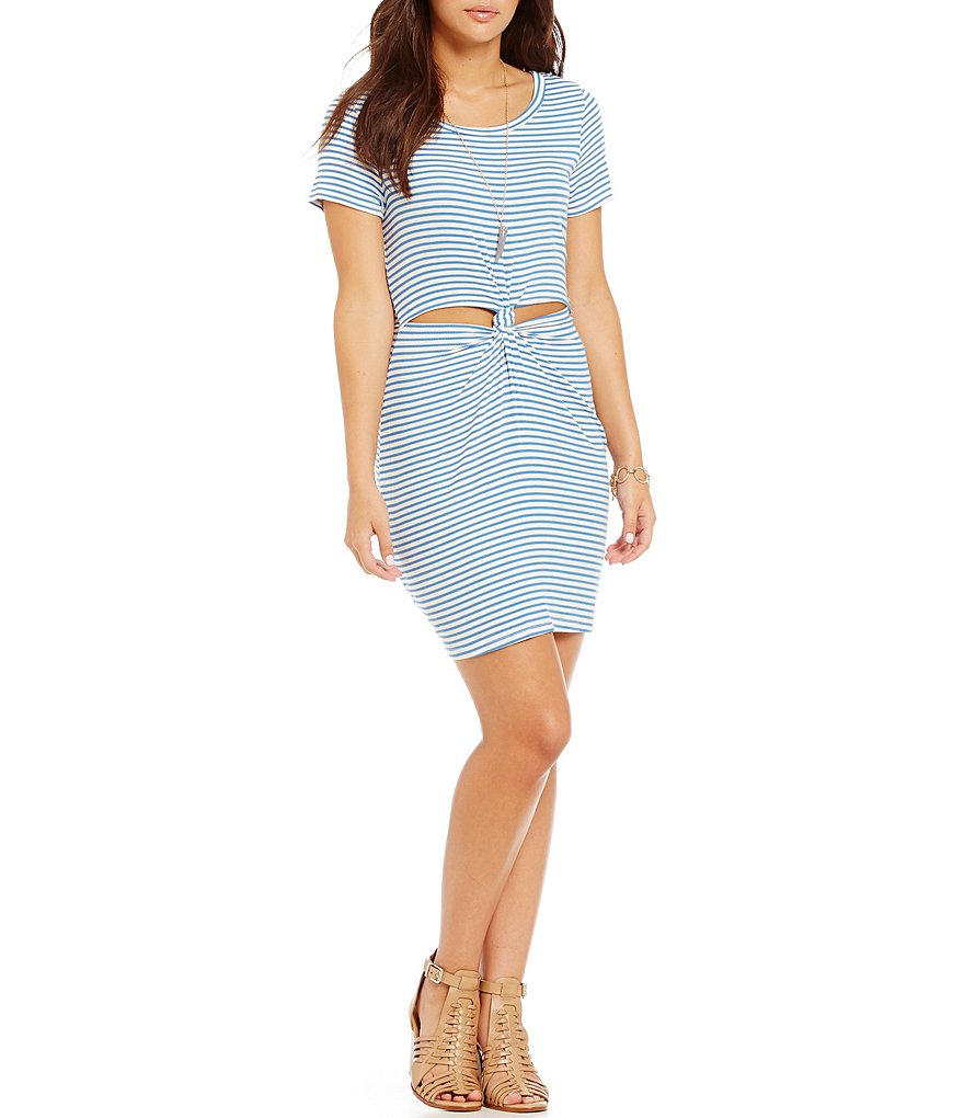 GB Striped Tie Front Short-Sleeve Dress