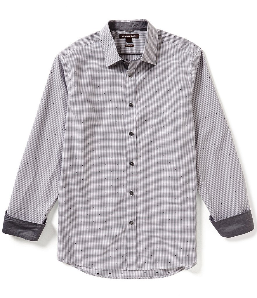 Michael Kors Tucker Tailored-Fit Long-Sleeve Checked Woven Shirt