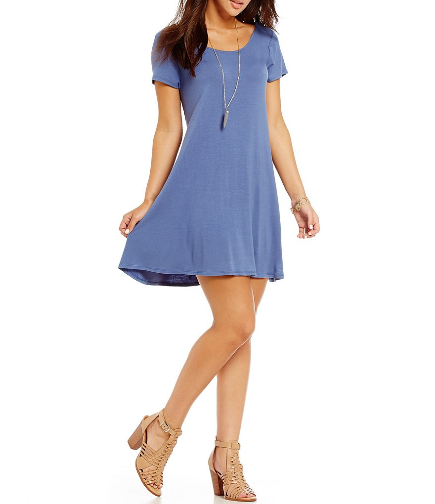 GB Knit Crossback Short-Sleeve Dress