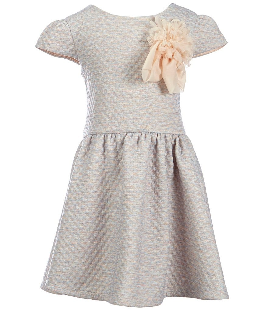 Pippa & Julie Little Girls 2T-6X Knit Flower-Appliqué A-line Dress