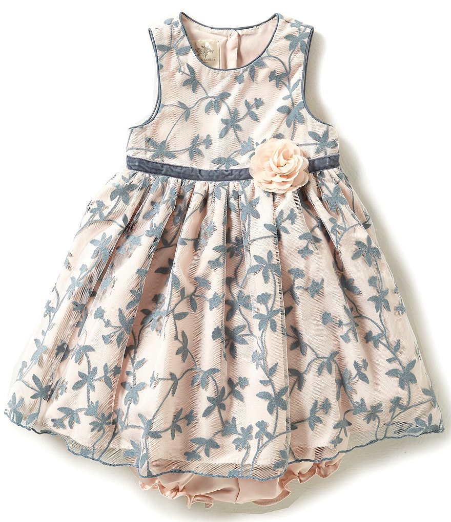 Laura Ashley London Baby Girls Newborn-24 Months Floral-Pattern Mesh-Overlay Dress