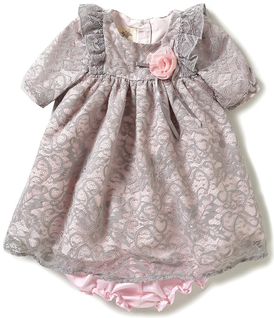 Laura Ashley London Baby Girls 12-24 Months Ruffle-Shoulder Lace Dress