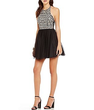 Blondie Nites Halter Neck Sequin Embellished Bodice Swing Dress
