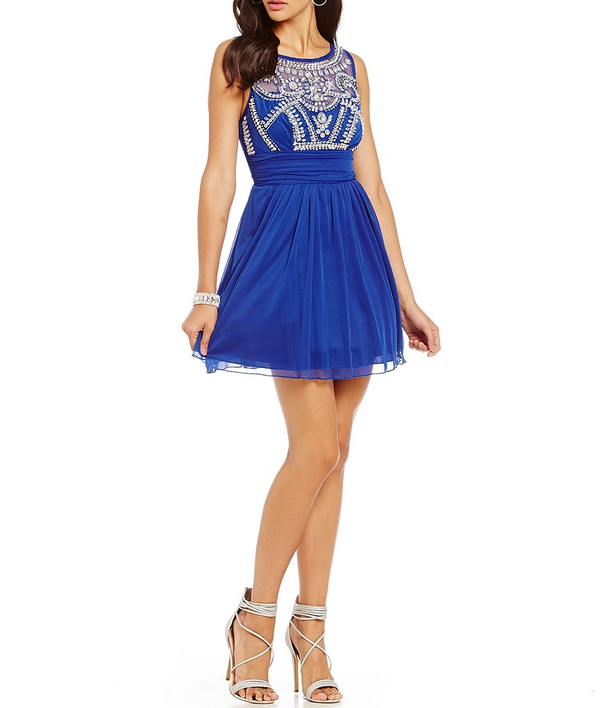 B. Darlin Beaded Illusion Bodice Sleeveless Swing Party Dress