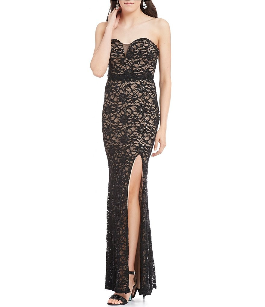 B. Darlin Strapless Sweetheart Neck Two-Tone Lace Long Dress