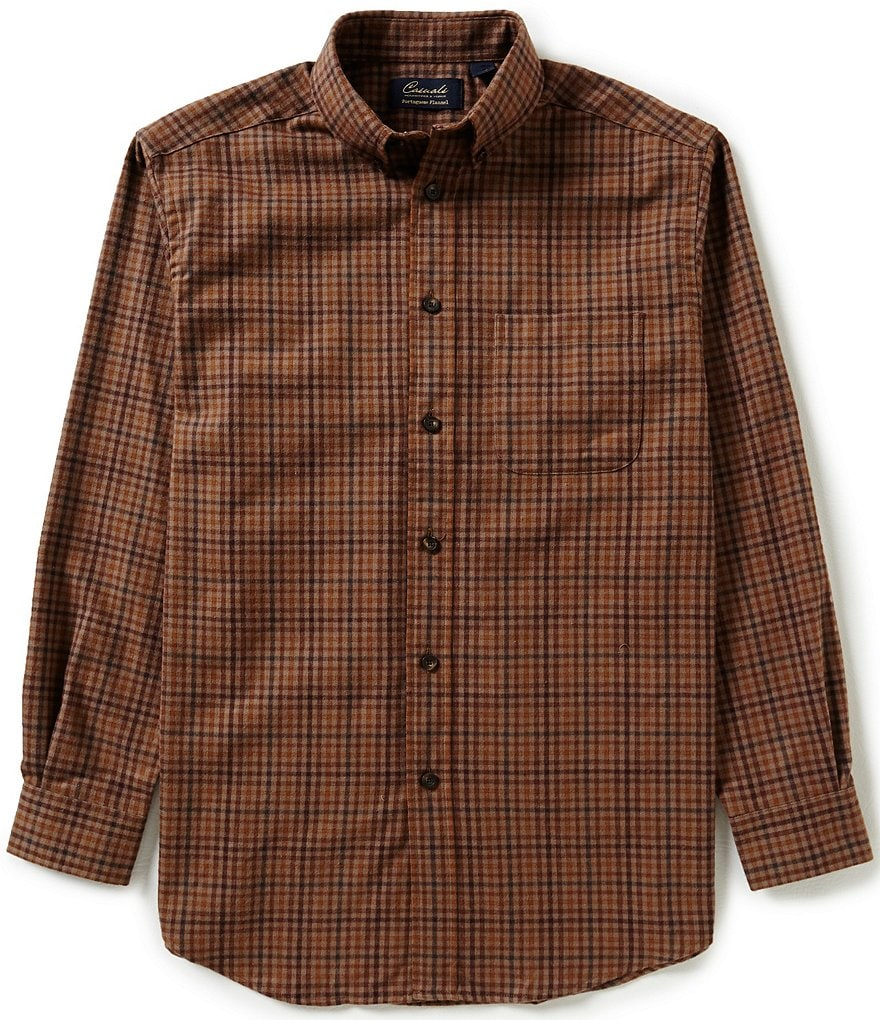 Roundtree & Yorke Casuals Long-Sleeve Multi-Check Flannel Sportshirt