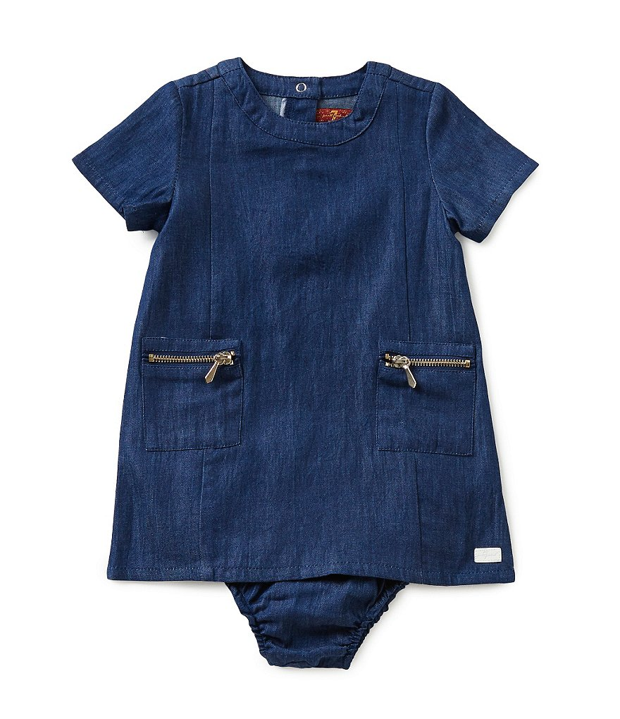 7 For All Mankind Baby Girls 12-24 Months Lightweight Denim Shift Dress