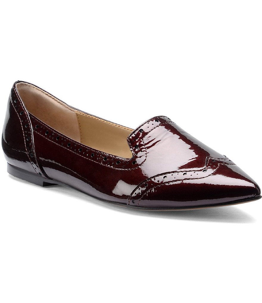Isola Christie Crinkle Patent Leather Wing Tip Slip Ons