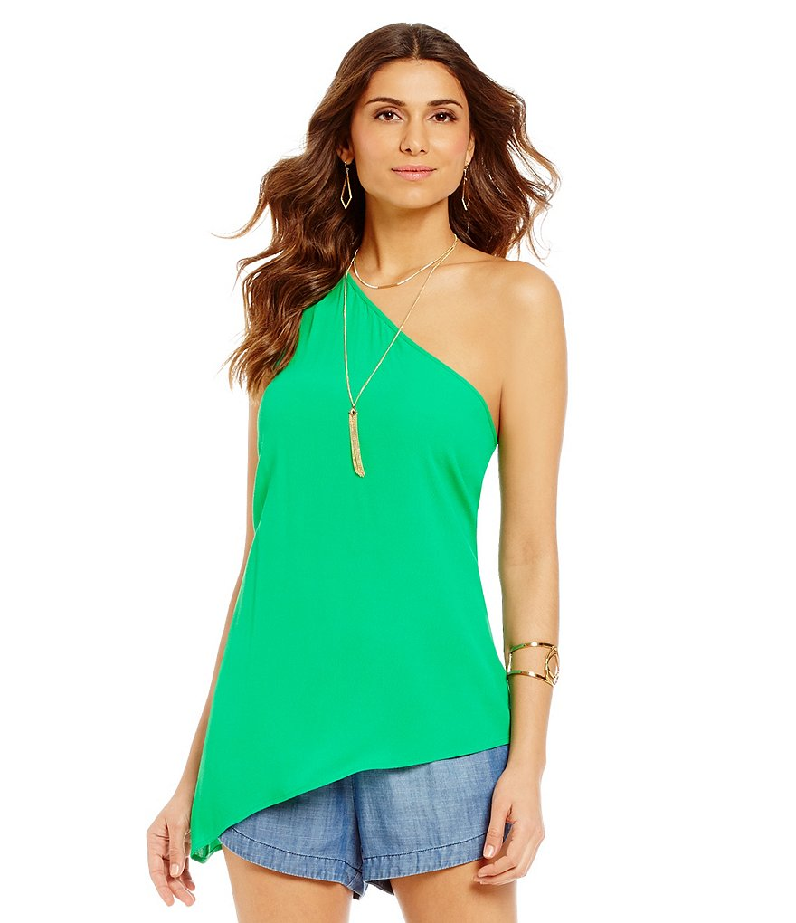 Gianni Bini Katie One Shoulder Asymmetrical Blouse