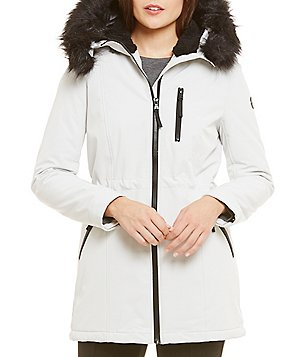 Calvin Klein Soft Shell Anorak With Faux Fur Hood