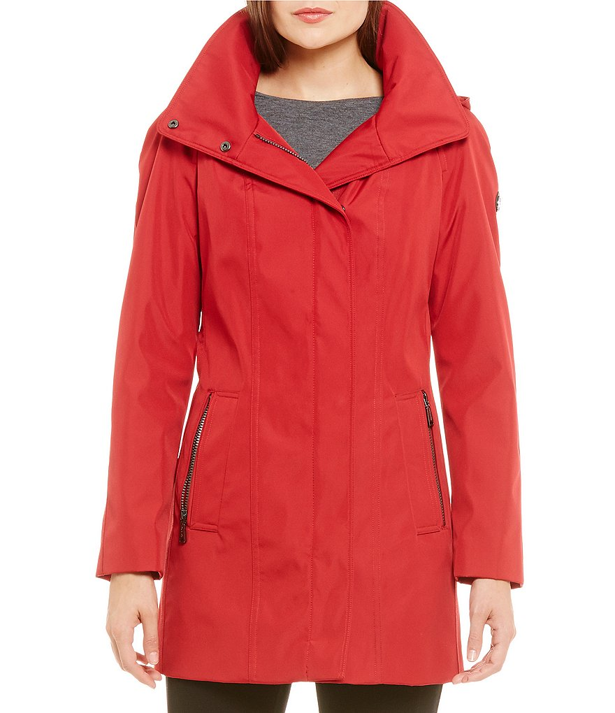 Calvin Klein Zip Front Hooded Rain Jacket