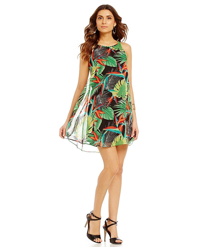 Gianni Bini Murray Palm-Print Swing Dress