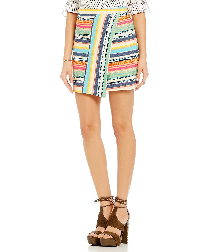 Gianni Bini Eileen Striped Faux-Wrap Skirt
