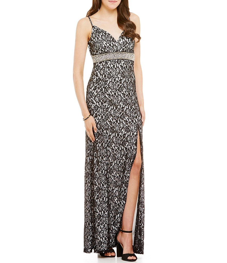 Sequin Hearts Spaghetti Strap Two-Tone Lace Long Dress