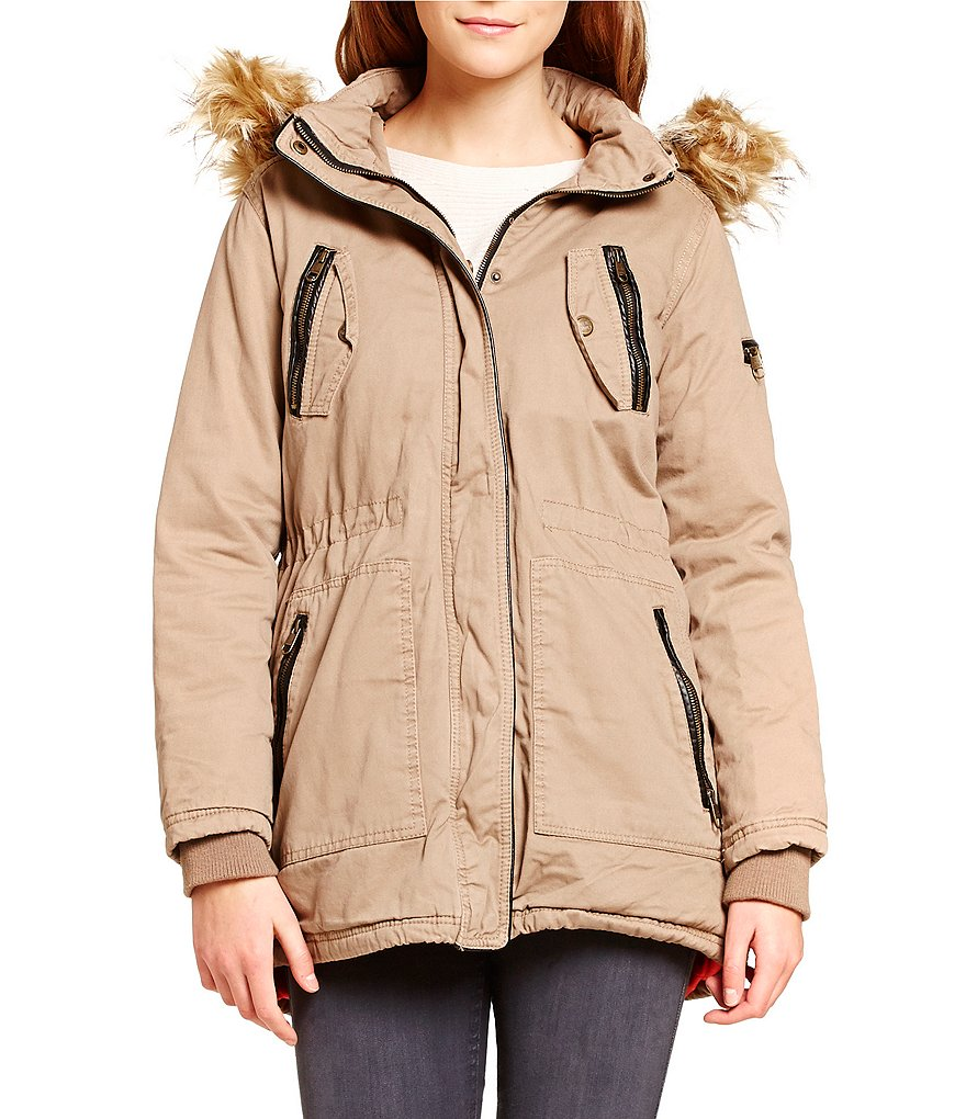 Steve Madden Cotton Anorak With Faux Fur Trim