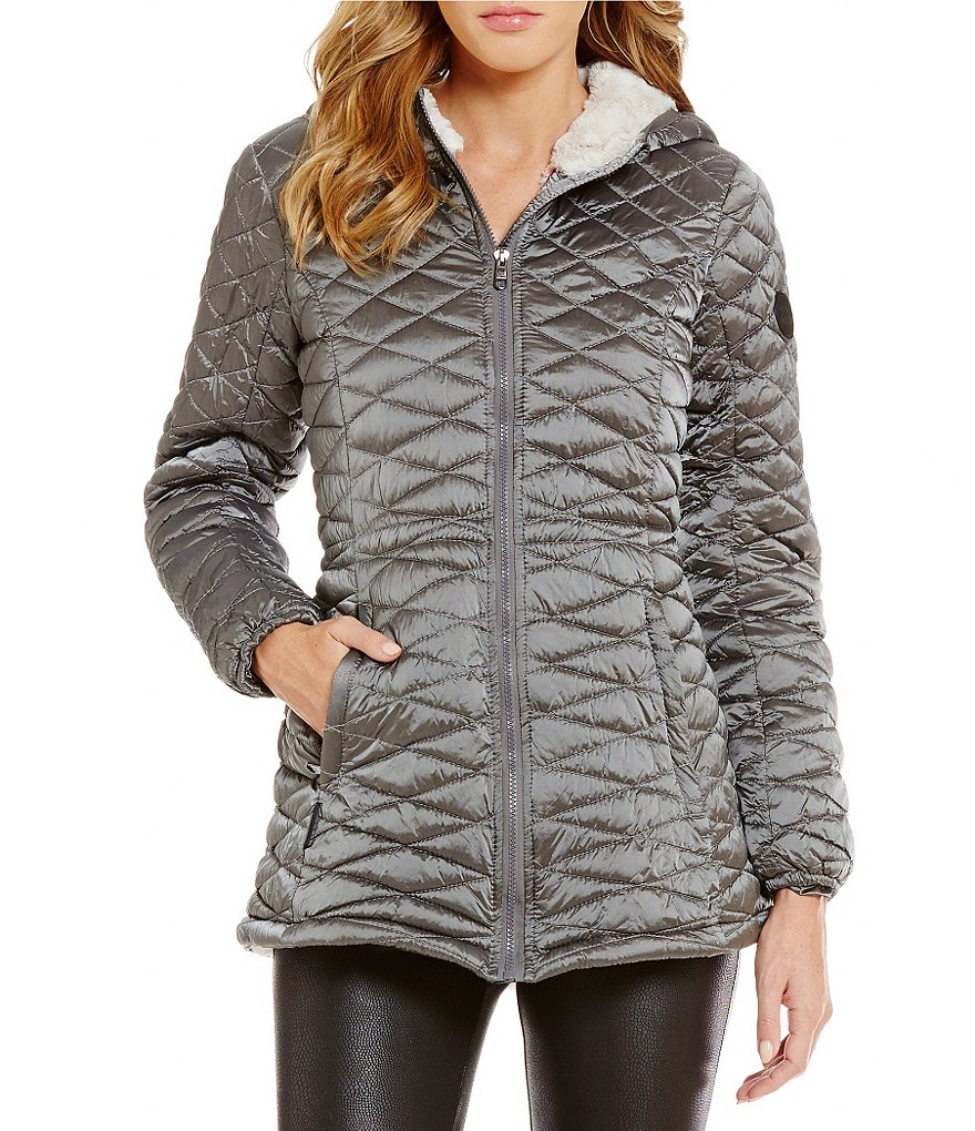 Steve Madden Glacier Shield Faux-Fur Hooded Solid Quilt Jacket