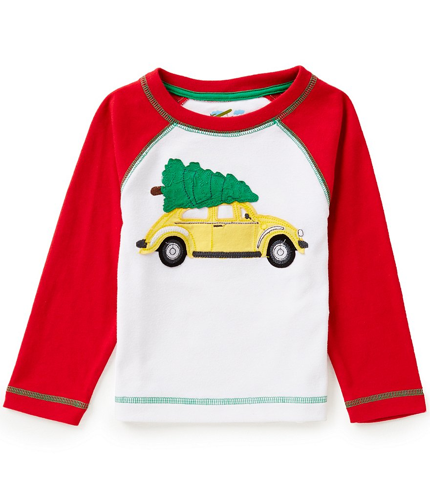 Adventure Wear by Class Club Little Boys 2T-6 Car Christmas Tree Appliqué Raglan Shirt