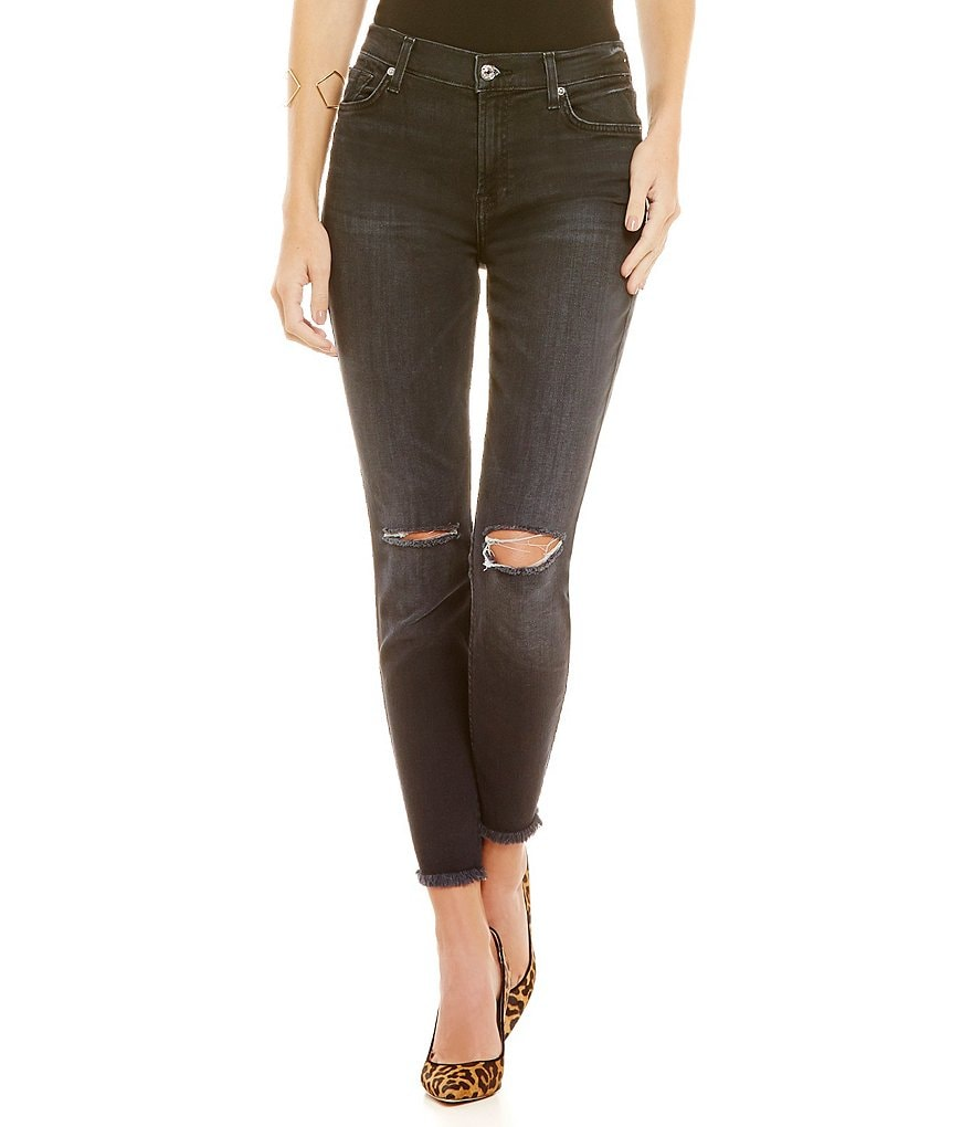 7 For All Mankind High Rise Frayed Hem Ankle Skinny Jeans