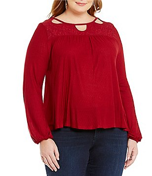 Jessica Simpson Plus Fifi Boat Neck Long Sleeve Solid Top