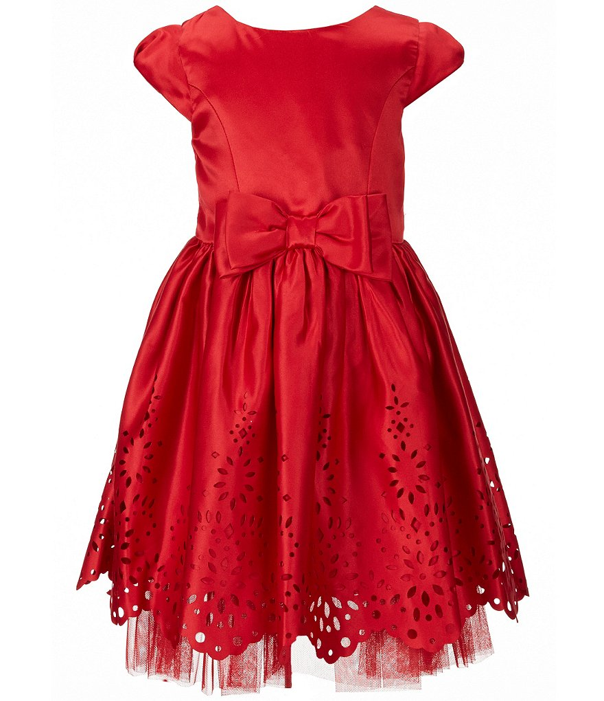 Sweet Heart Rose Little Girls 4-6X Laser-Cut Bow Dress