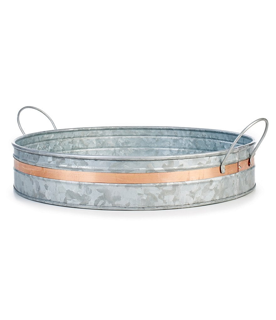 Southern Living Galvanized Round Tray with Copper Band