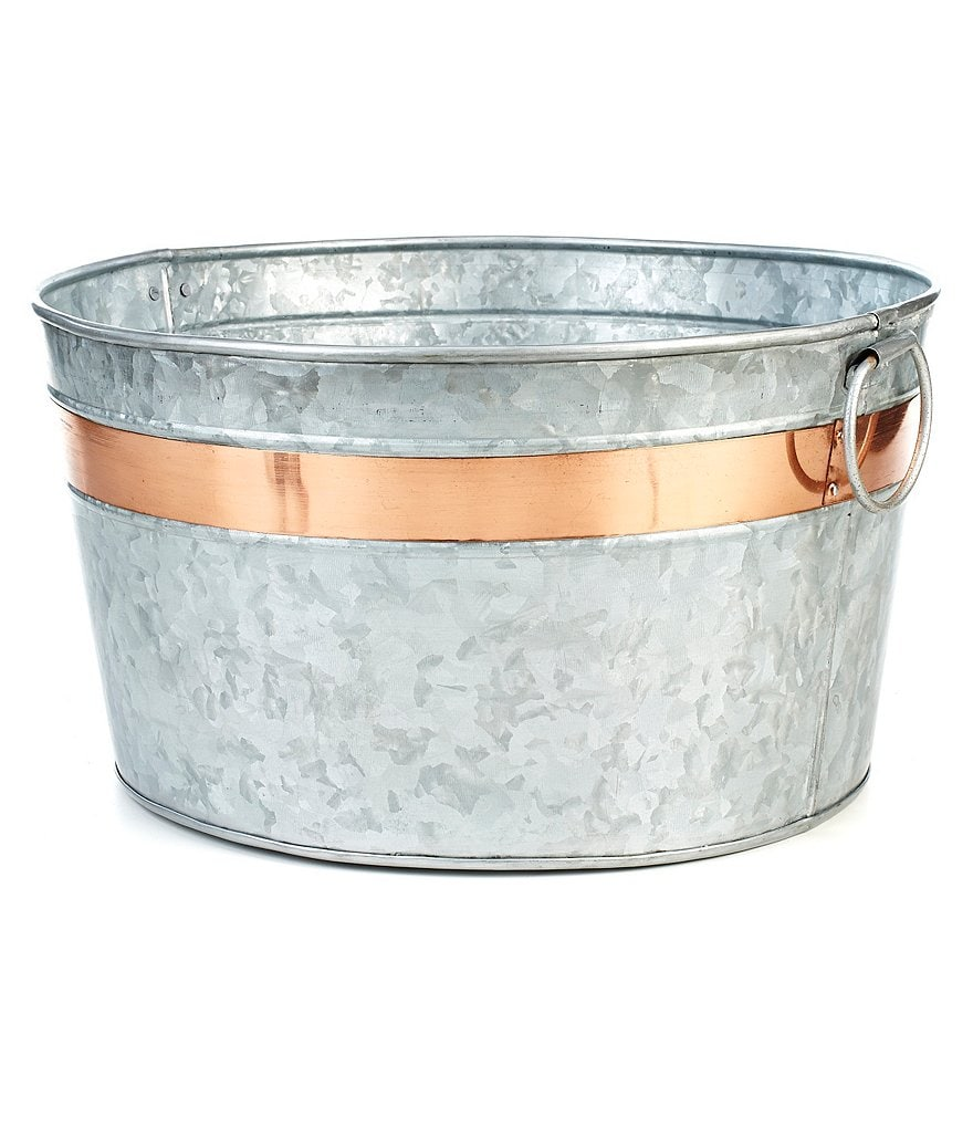 Southern Living Galvanized Party Bucket with Copper Band