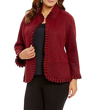 Multiples Plus Banded Collar 3/4 Sleeve Accent Pleated Solid Jacket