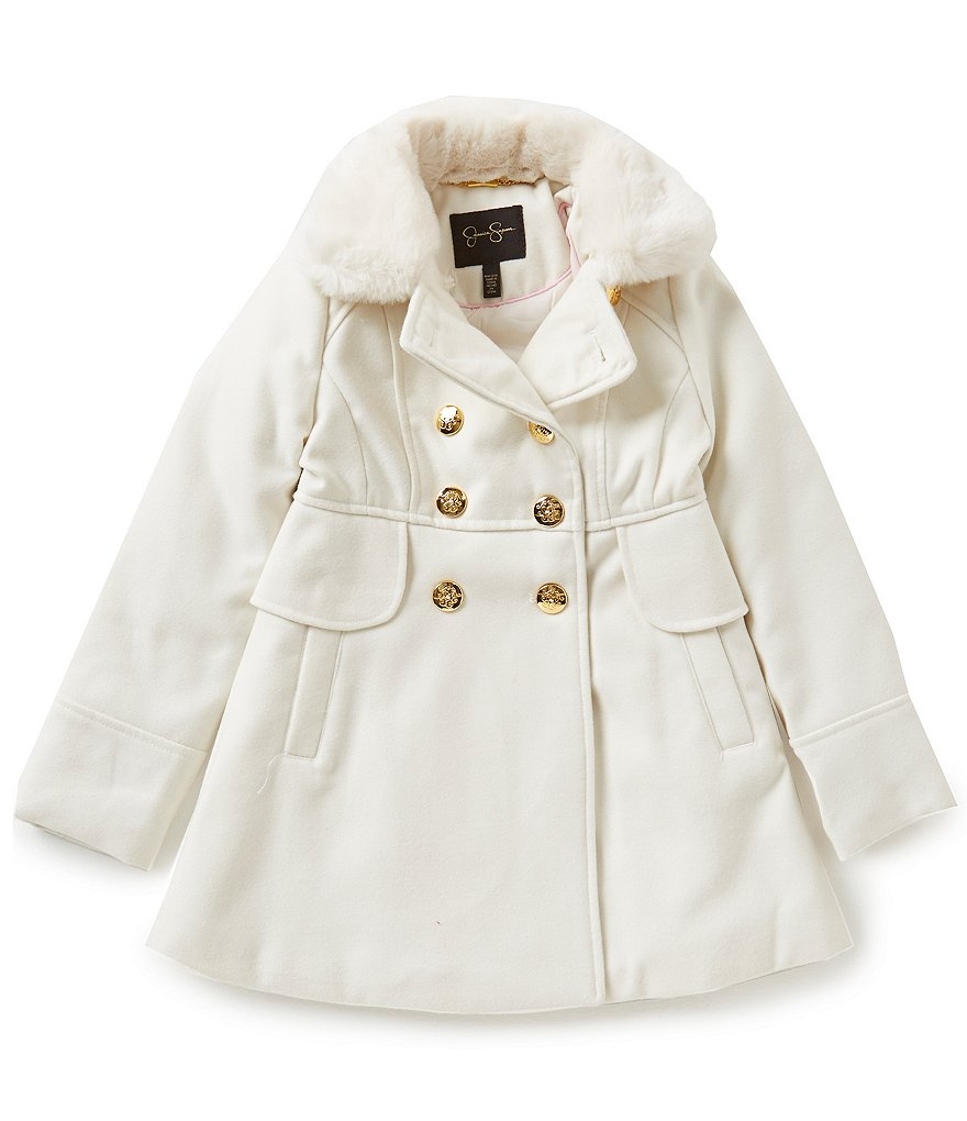 Jessica Simpson Big Girls 7-16 Faux-Fur Collar Wool Peacoat