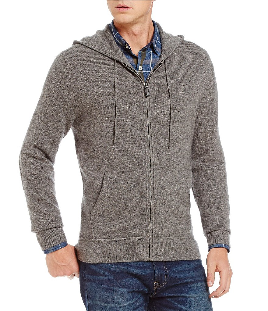 Daniel Cremieux Signature Full-Zip Elbow-Patch Cashmere Hoodie