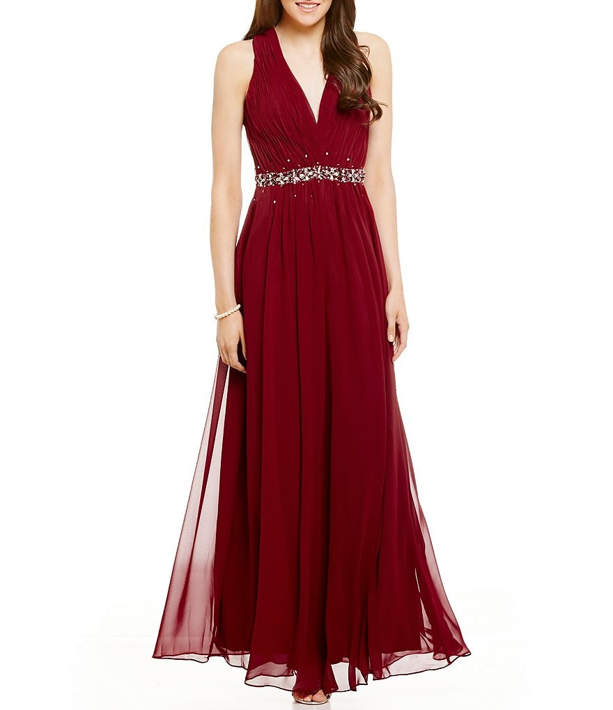 B. Darlin Deep V-Neck Pleated Beaded Bodice Long A-line Dress