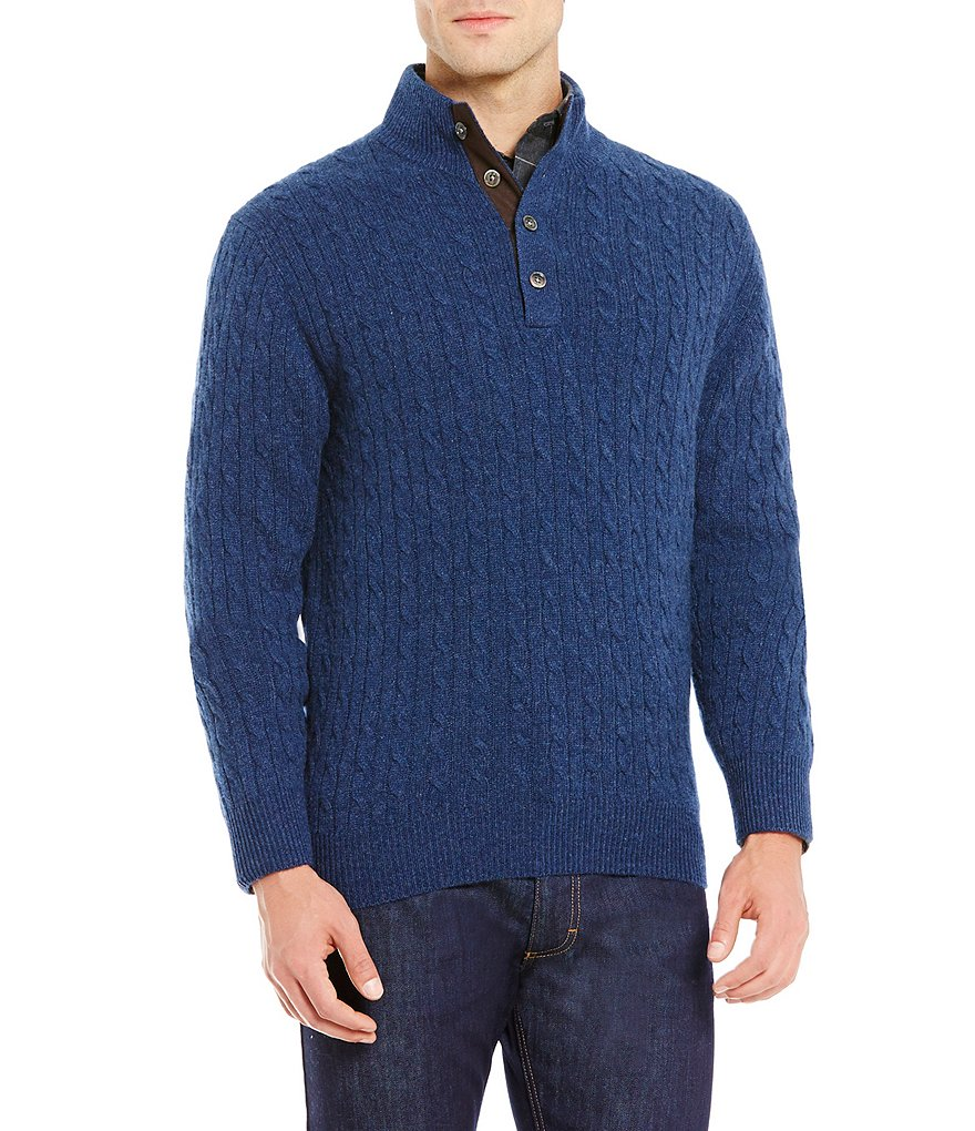 Daniel Cremieux Signature Cable-Knit Ribbed Mock Neck Cashmere Sweater