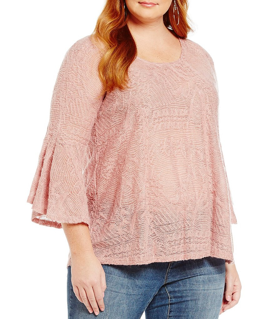 Jessica Simpson Plus Hyne Split Back Bell-Sleeve High-Low Sweater