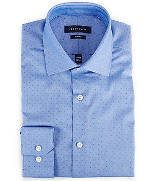 Perry Ellis Non-Iron Slim-Fit Spread-Collar Dobby-Striped Dress Shirt