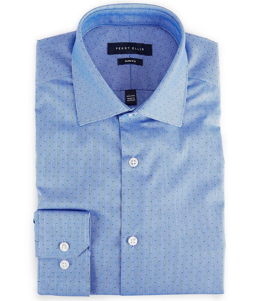 Perry Ellis Non-Iron Slim-Fit Spread-Collar Dobby-Striped Dotted Dress Shirt