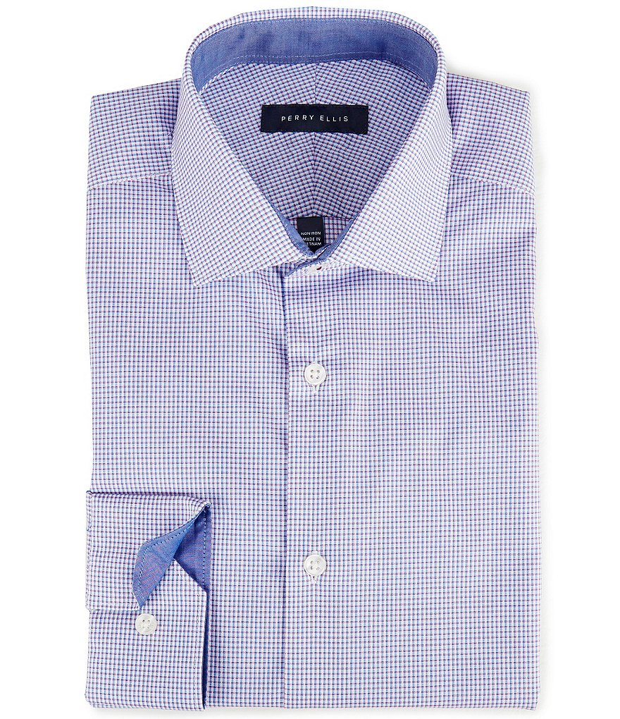 Perry Ellis Non-Iron Slim-Fit Cutaway-Collar Dobby-Checked Dress Shirt