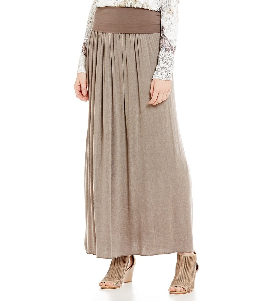 M Made In Italy Crinkle Maxi Skirt
