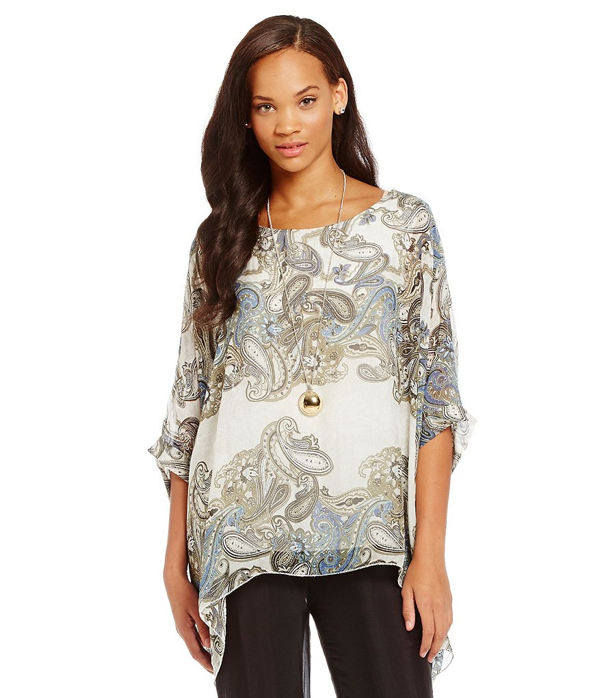 M Made In Italy Paisley Printed Poncho Tunic