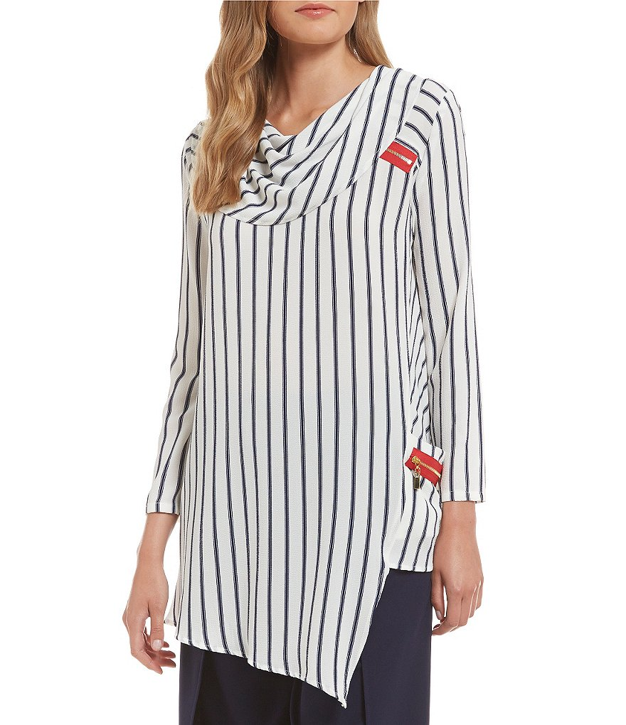 IC Collection Cowl Neck Striped Top