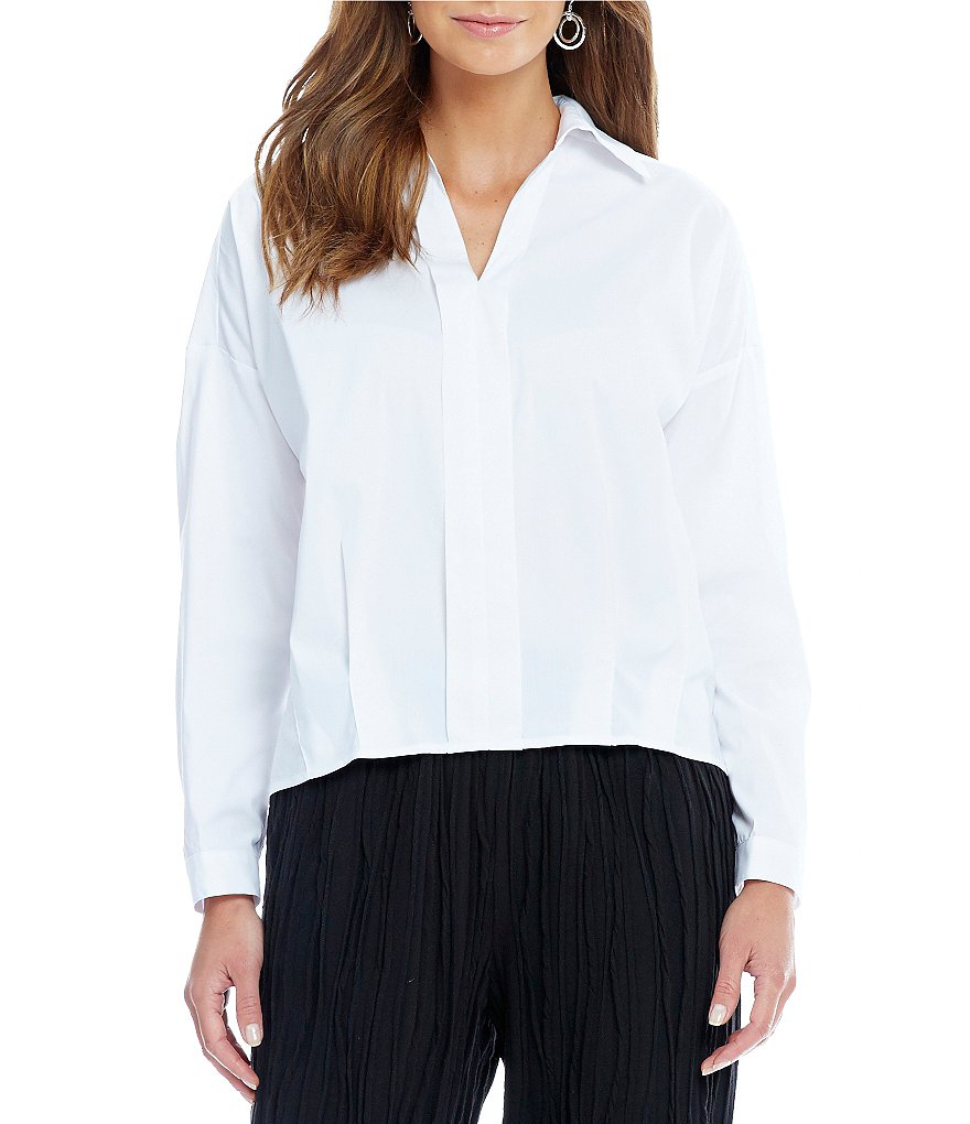 IC Collection Short Point Collar Cotton Blouse
