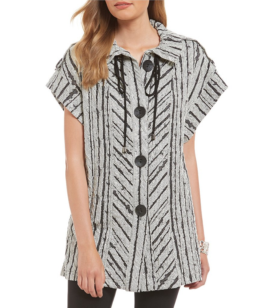 IC Collection Striped Jacquard Cap Sleeve Vest