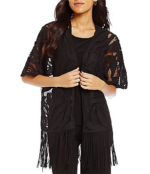 Multiples Kimono Sleeve Open Front Lace Fringed Hem Cardigan