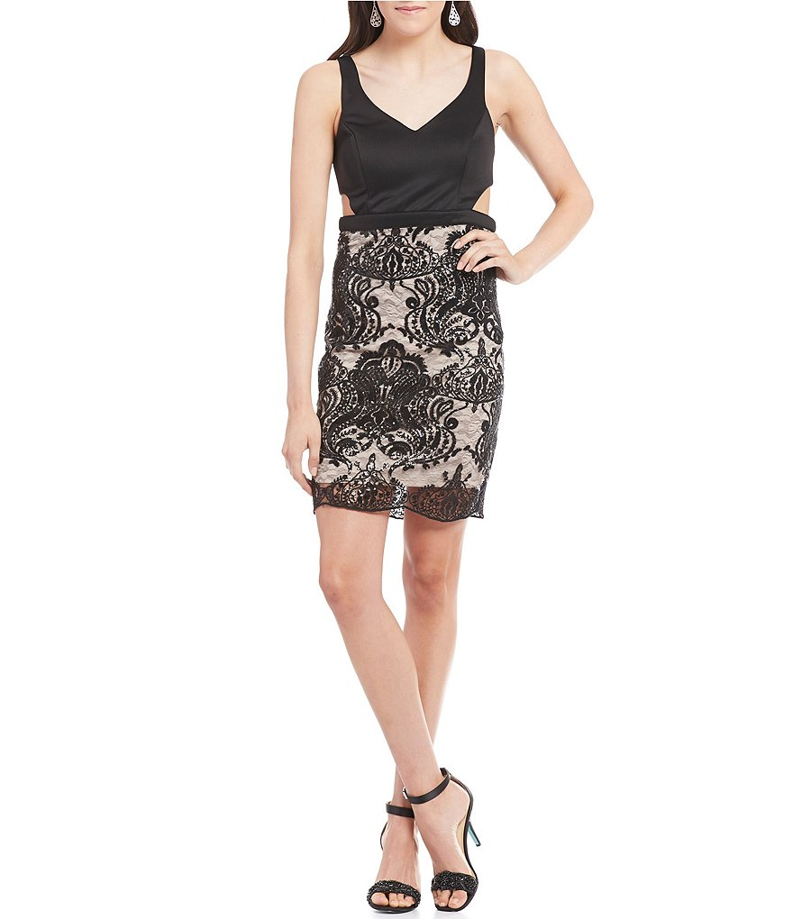 Sequin Hearts Cut-Out Sides Lace Skirt Sheath Dress