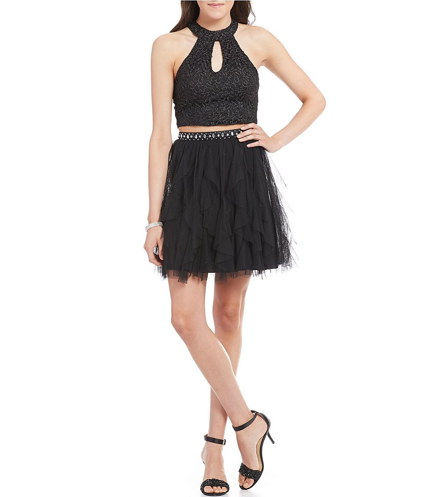 Sequin Hearts Metallic Lace Bodice Corkscrew Skirt Two-Piece Party Dress