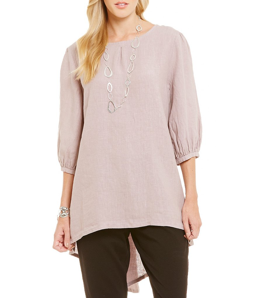 Bryn Walker Lucien 3/4 Sleeve Hi-Low Linen Tunic