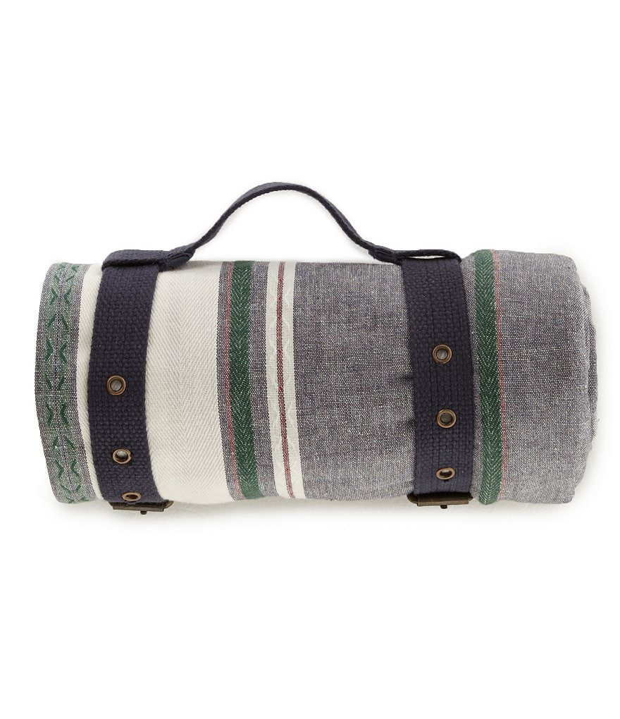 Southern Living Striped Picnic Blanket with Carrying Strap