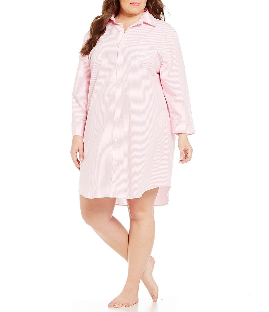 Lauren Ralph Lauren Plus His Shirt Striped Classic Sleepshirt